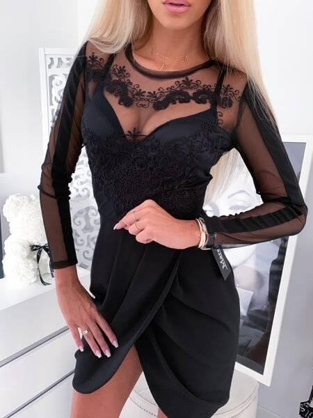 elegancka sukienka na studniowke czarna camashopping