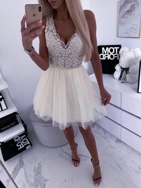 gipiura sukienka na studniowke kremowa camashopping
