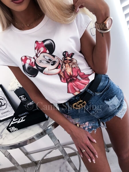 koszulka damska znadrukiem minnie