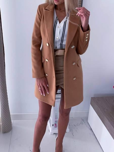 płaszcz damski karmelowy edan