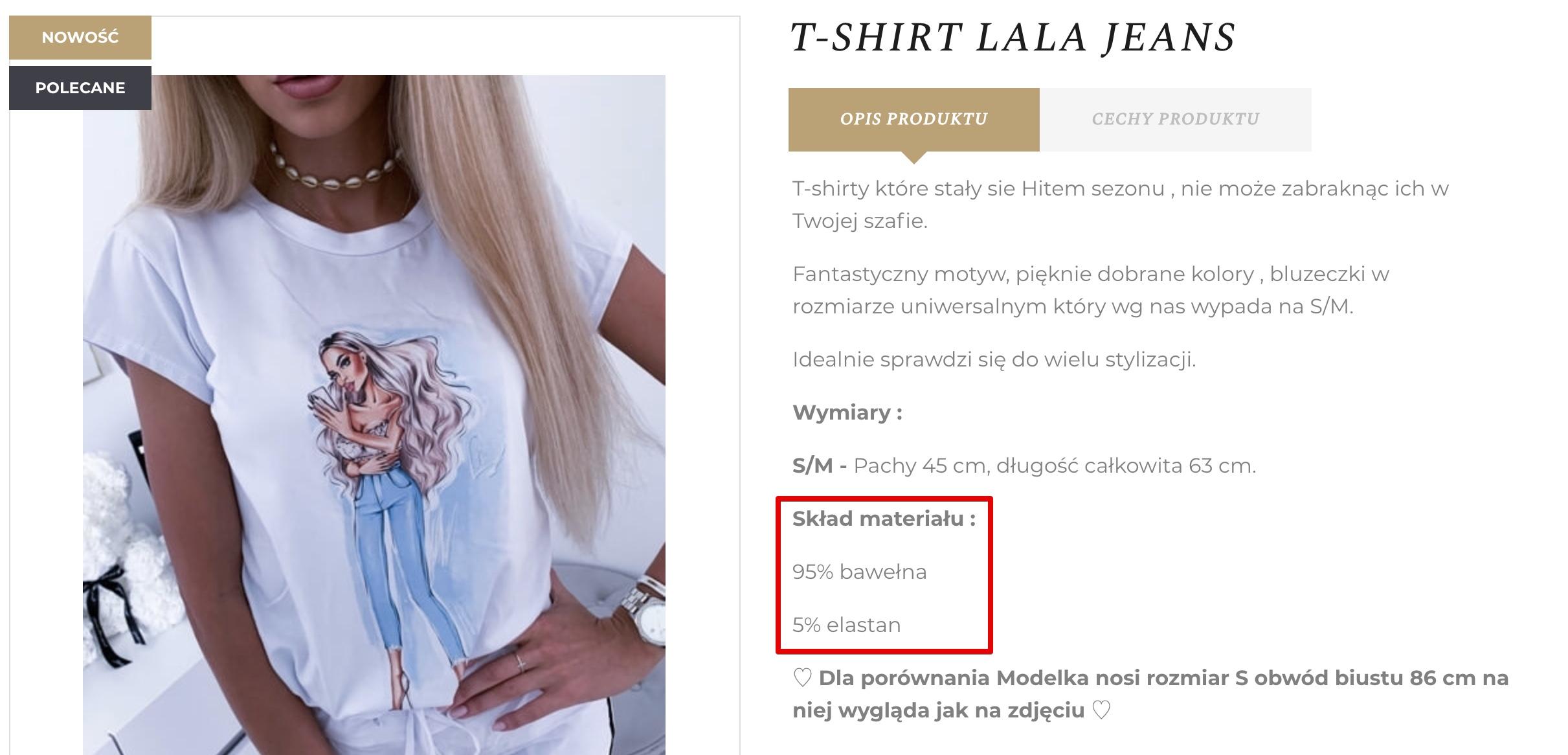 skład koszulki