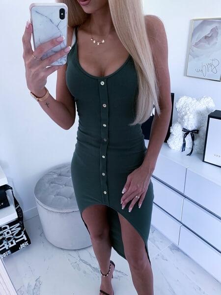 sukienka asymetryczna khaki