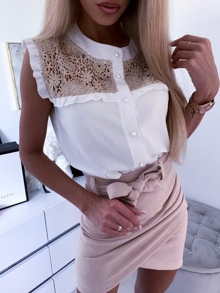 Bluzka zkoronką biało-złota Xsana