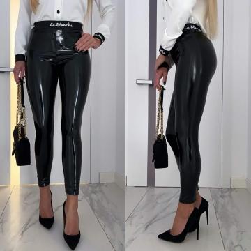 Czarne lateksowe spodnie La Blanche