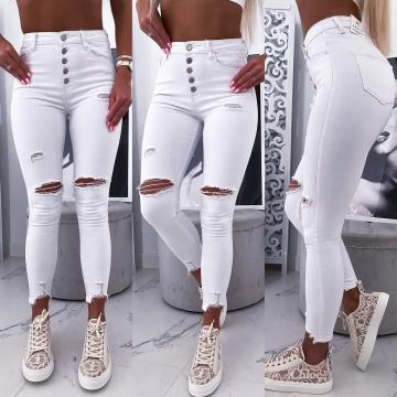 Białe spodnie z dziurami wysoki stan