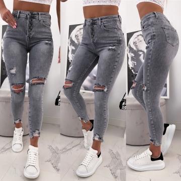 Szare spodnie dżinsy z dziurami wysoki stan