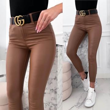Brązowe woskowane spodnie ALIS