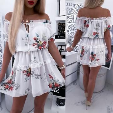 Biała Sukienka w kwiaty IRINA