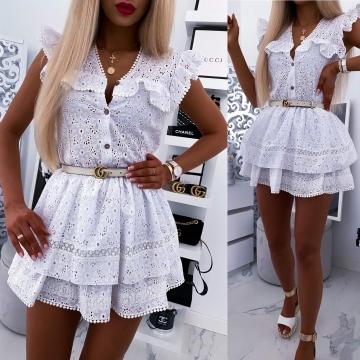 Biały ażurowy komplet bluzka + spódniczka Xana