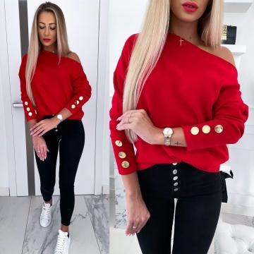 Czerwony sweter guziki By Me