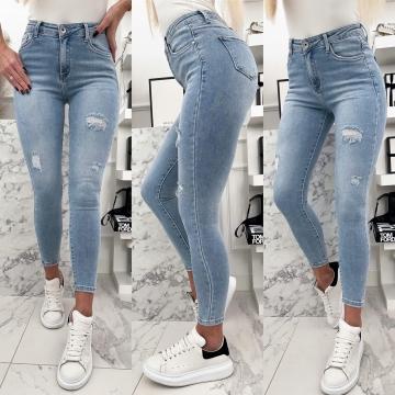 Spodnie jeans wyższy stan z przetarciami