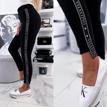 Czarne damskie spodnie z lampasem