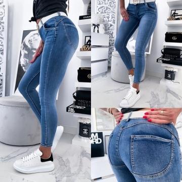 Granatowe damskie spodnie rurki push-up