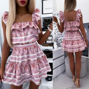 Sukienka w kwiaty i paski z falbanką LOE
