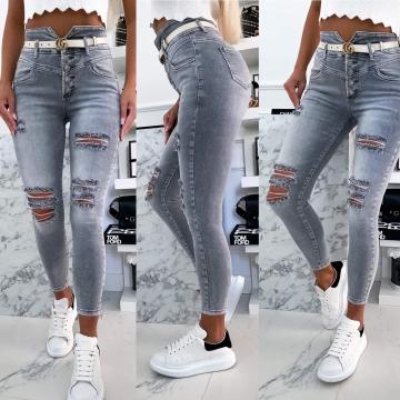 Szare spodnie Jeans dziury z wysokim stanem