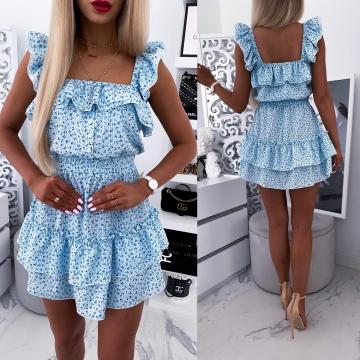 Błękitna sukienka w kratkę z drobnymi kwiatkami LOE