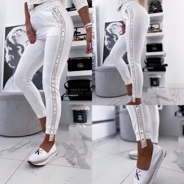 Białe damskie spodnie z lampasem VELSATINO