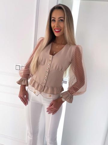 Beżowa bluzka siateczkowe rękawy Zoeva