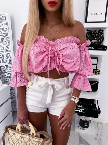 Różowa krótka bluzka hiszpanka ażurowa