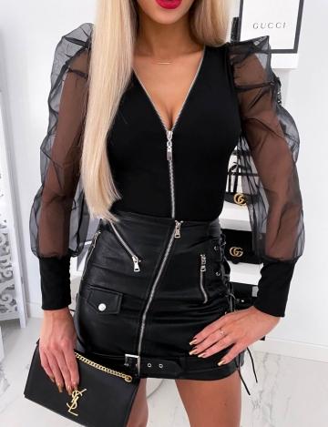Czarne body zip z bufkami