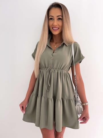 Sukienka Khaki koszulowa z krótkim rękawem