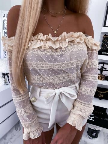 Beżowa bluzka hiszpanka By Me