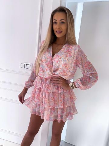 Sukienka zwiewna z długim rękawem Pink Flowers