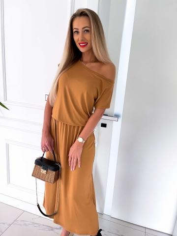 Karmelowa letnia sukienka Maxi
