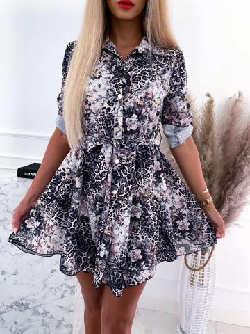 Sukienka koszulowa w cętki i kwiaty