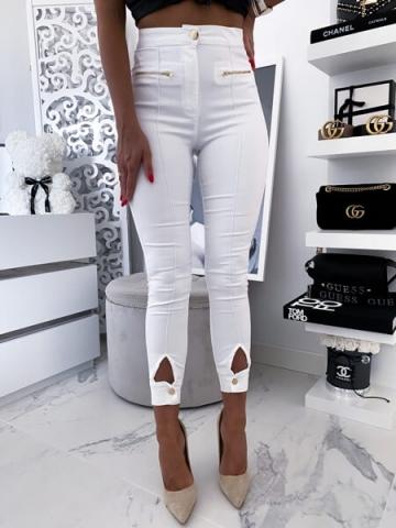 Białe spodnie z wysokim stanem Zip