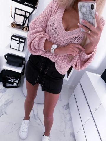 Sweterek różowy oversize