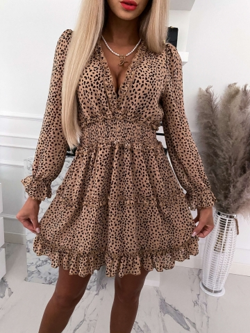 Sukienka zwiewna w cętki z falbankami Mia