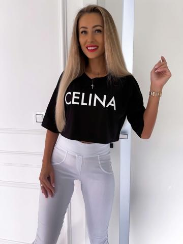 Czarny luźny T-shirt Celina