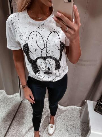 Biały T-shirt z cekinami Myszka MIKI