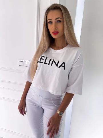 Biały luźny T-shirt Celina
