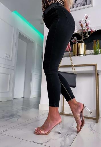 Czarne spodnie jeans z zamkami Queen