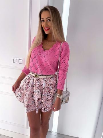 Ażurowy luźny sweter Pink Bocca