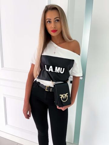 Kremowy T-shirt czarny nadruk LaMu