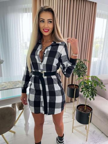 Czarno-biała sukienka koszulowa La Blanche