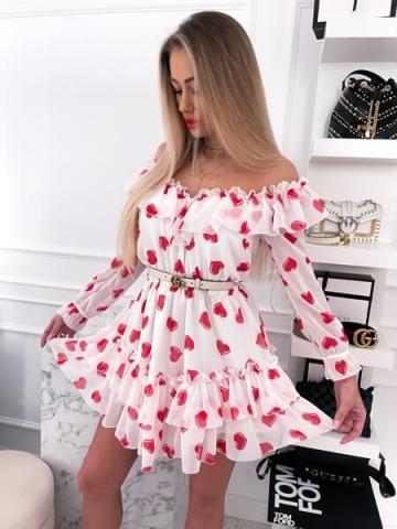 Biała Sukienka w czerwone serduszka Valentina