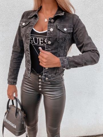 Czarna kurtka Jeans guziki