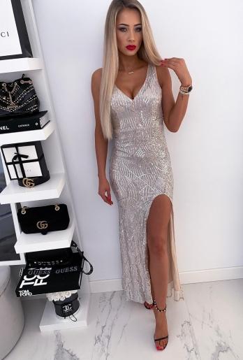 Sukienka cekinowa Maxi Magic Silver