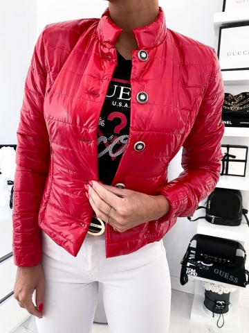 Czerwona pikowana kurtka Glossy