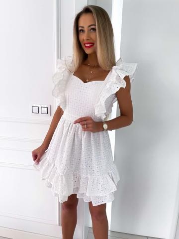 Biała ażurowa sukienka Margaret