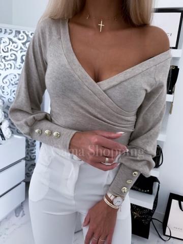 Bluzka zakładana w kolorze beżowym