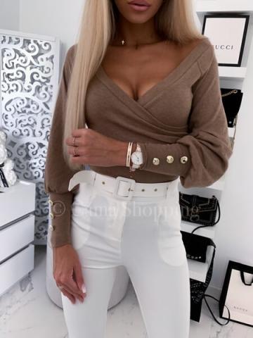 Bluzka zakładana w kolorze brązowym