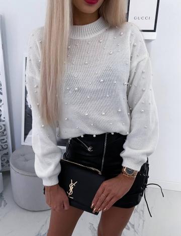 Sweterek Ecru z perełkami