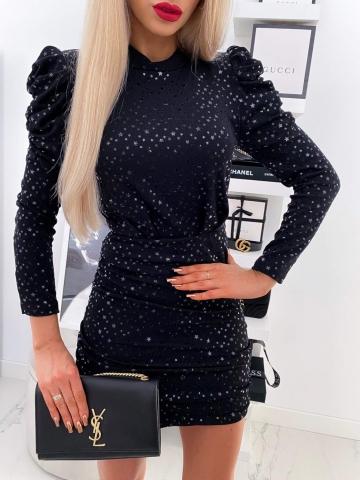 Czarna sukienka z bufkami Black Star