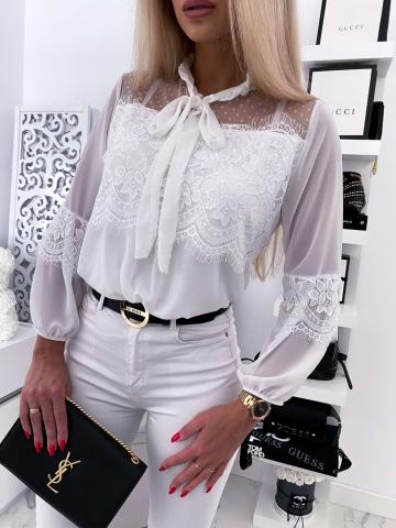 Koszula koronkowa YARIS WHITE