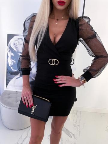 Czarna Sukienka z bufkami brokatowa
